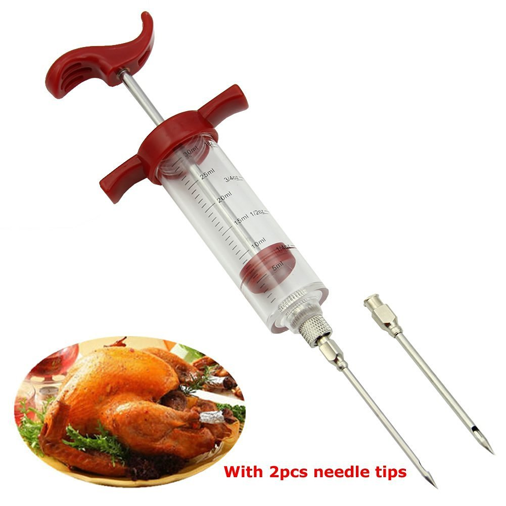HeroNeo BBQ Tool Cook Meat Marinade Injector Flavor Syringe For Poultry Turkey Chicken Grill Cooking With 2pcs needle tips (Red)