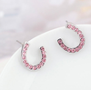 Yiwu Jewellery Half moon stud earring real white gold earring fashion colored crystal earring