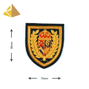 Popular Manufacturer Bullion Wire Hand Embroidery Gold Shield Shape Badge For Military Uniform