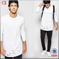 OEM design long sleeve longline oversized cotton T Shirt with distressed hem