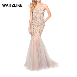 High Quality sexy mermaid dresses formal gown beaded lace maxi evening dress