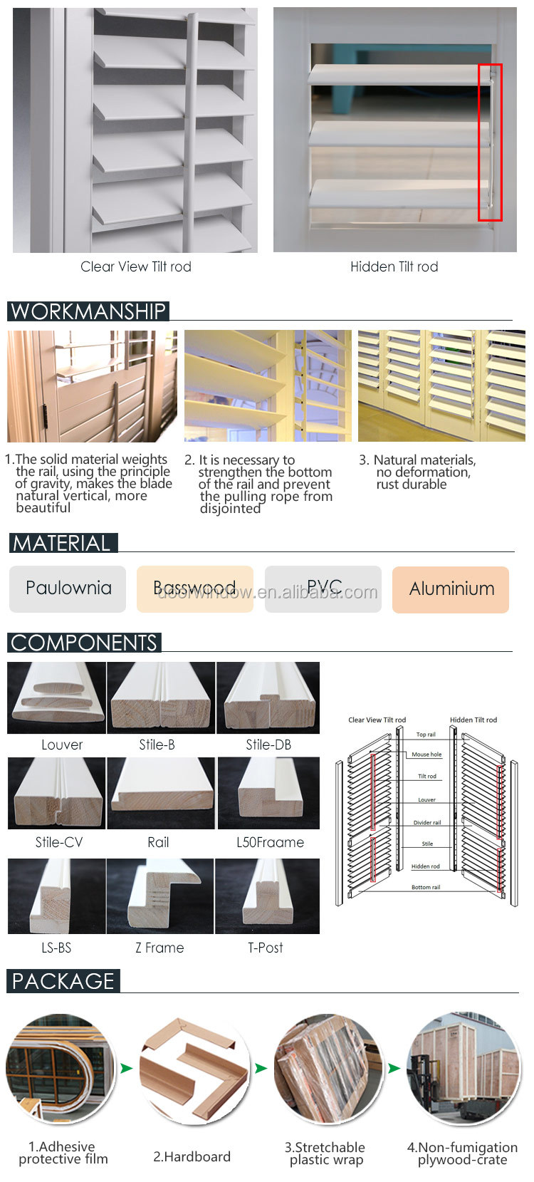 Window shutters interior metal rolling shutter louver prices