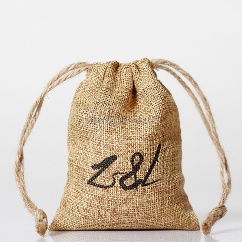 Logo Print Jute materials wholesale gift bag with drawstring