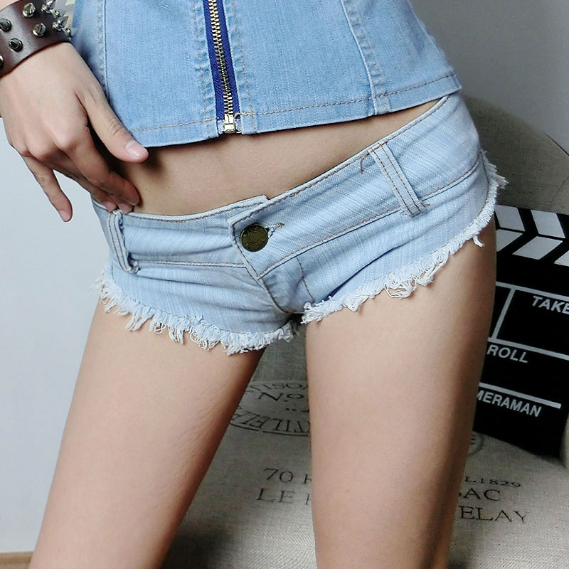 Women's new summer influx of European and American ultra-short denim shorts sexy nightclub ladies