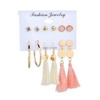 LL005 ear accessories European and American fashion love big circle tassel 6 pairs of ear stud set cross-border supply