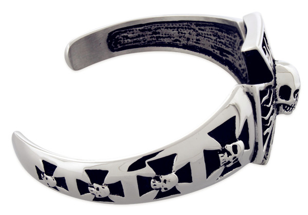 Vintage Jewelry Stainless Steel Skull Cross Biker Tribal Men's Bangle Cuff Bracelet - Color Black Cross Skull