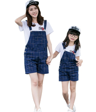 2016 Fashion Plaid Family Matching Outfits Mother Daughter Set T shirt Rompers Set Baby 100 150