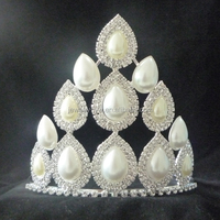 wholesale good selling princess big white rhinestone wedding pageant crowns and tiaras