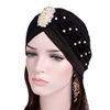 Women Luxury Pearled Flower Turban Muslim Headscarf Women Jewellery Head Wrap Bonnet Hijab For Lady MTJM-24J