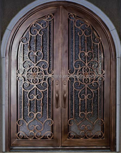 SZ-196 Exquisite Round Top Wrought Iron Stock Door