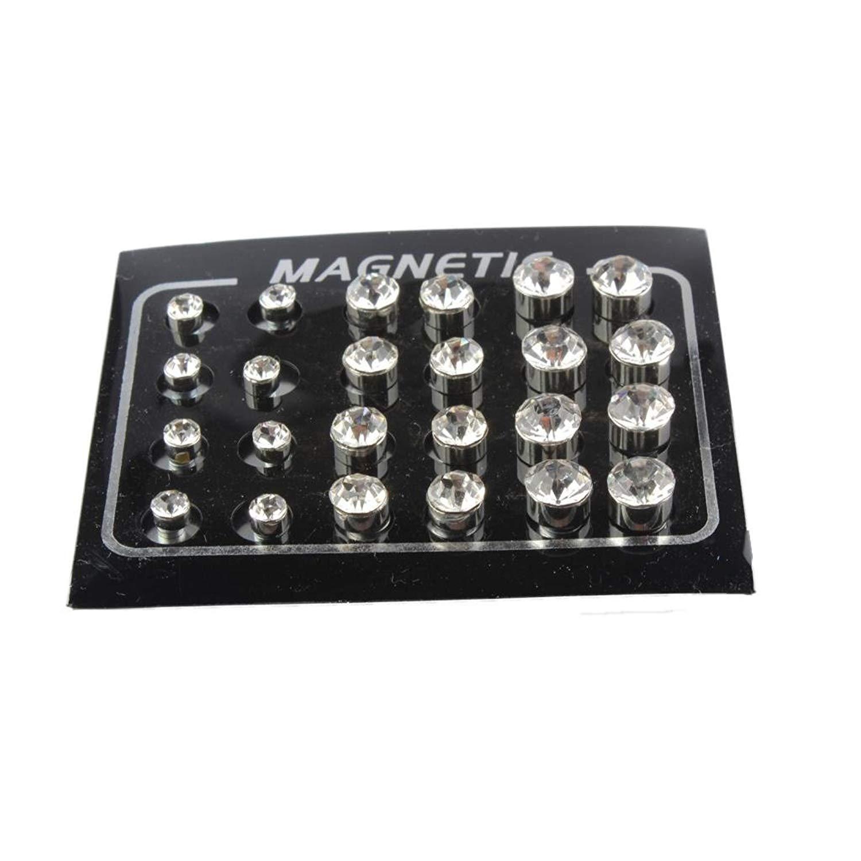 b55875c49 Baosity 12 Pairs Round Clear Diamond Metal Men Women Magnetic Stud Earrings  No Piercing 4mm 6mm