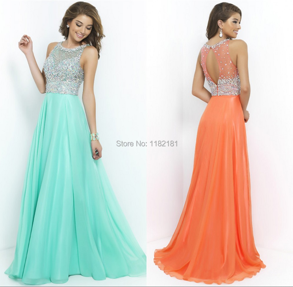 Sparkly Beaded See Through Elegant Mint Orange Prom Dress Long Chiffon Corset Evening Gowns 2015 New Arrival