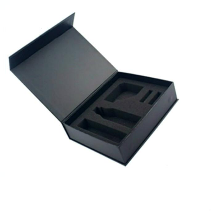 Elegante Nero Magnetico Scatola di Cartone Logo Personalizzato Con Inserto In Schiuma EVA Scatole Regalo