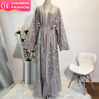 1711# New Style Long Sleeve Kaftan Muslim Front Open Kimono Modern Sequins Abaya for Evening Prom