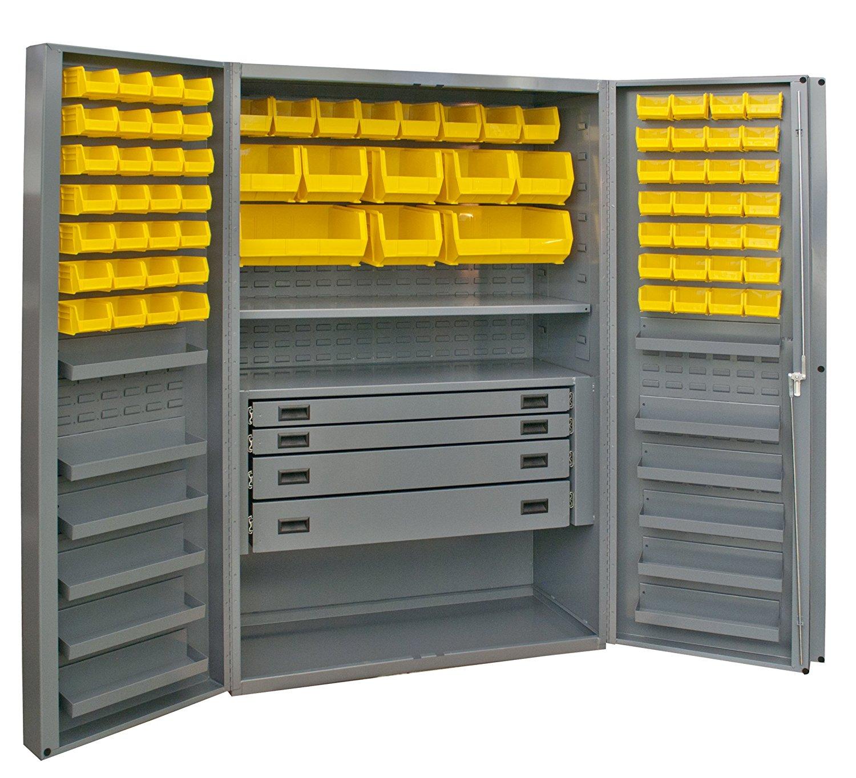 "Durham Heavy Duty Welded 14 Gauge Steel Cabinet with 132 Bins, DCBDLP724RDR-95, 12 Door Shelves and 4 Drawers, 24"" Length x 36"" Width x 72"" Height, 1 Shelf, Durable Gray Textured Coat Finish"