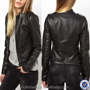 Модные женские носит новый из искусственной кожи короткие женские куртки  дешевые оптовые женские мото куртки 4cdb7cc4de7b1