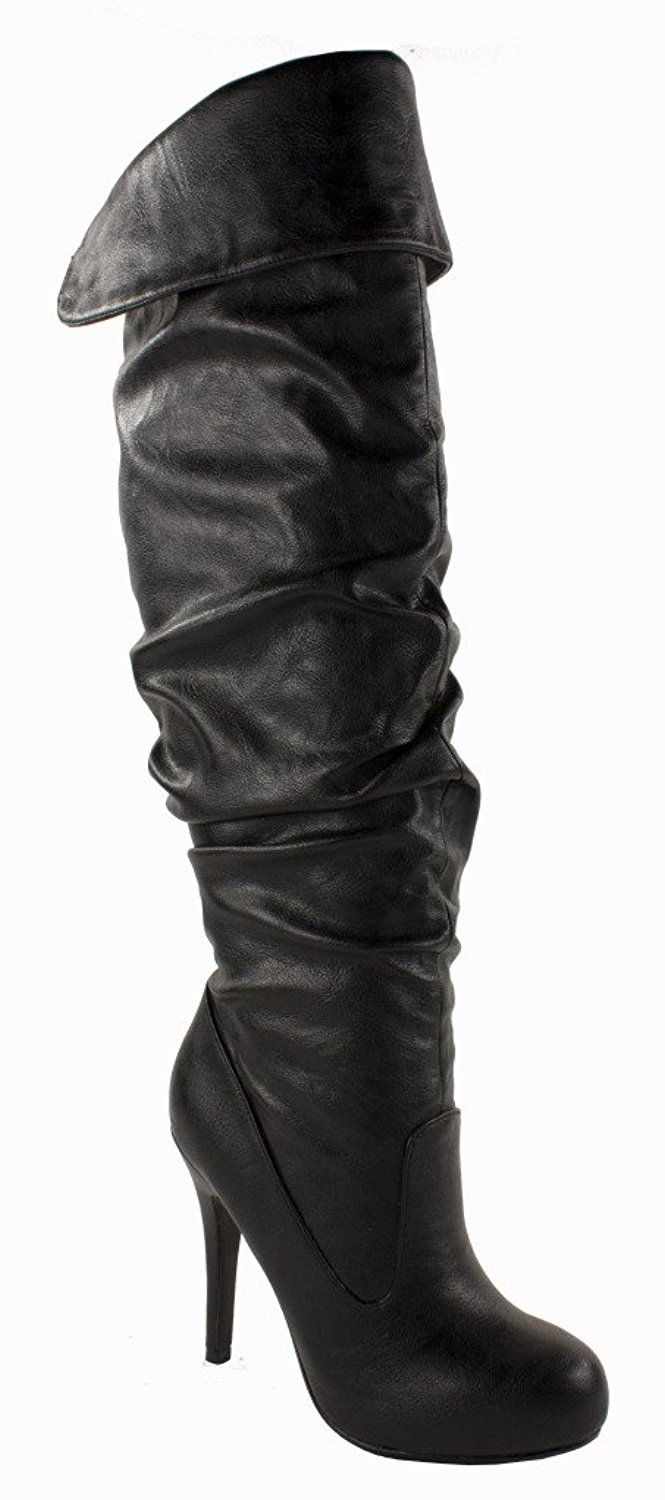 314cb84d619 By Paprika Thigh-high Over the Knee Stiletto Boots with Hidden Platform in