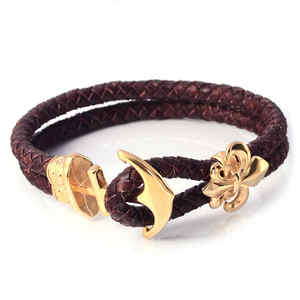 Newest Gold Stainless Steel Anchor Charm Genuine Leather Bangle