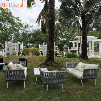 Mr.Dream Super comfortable beautiful aluminum polyester rope garden sofa set (accept customized)