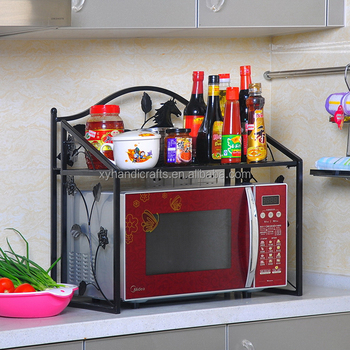 Wrought Iron 2 Tier Storage Shelf E Saving Kitchen For Microwave Oven