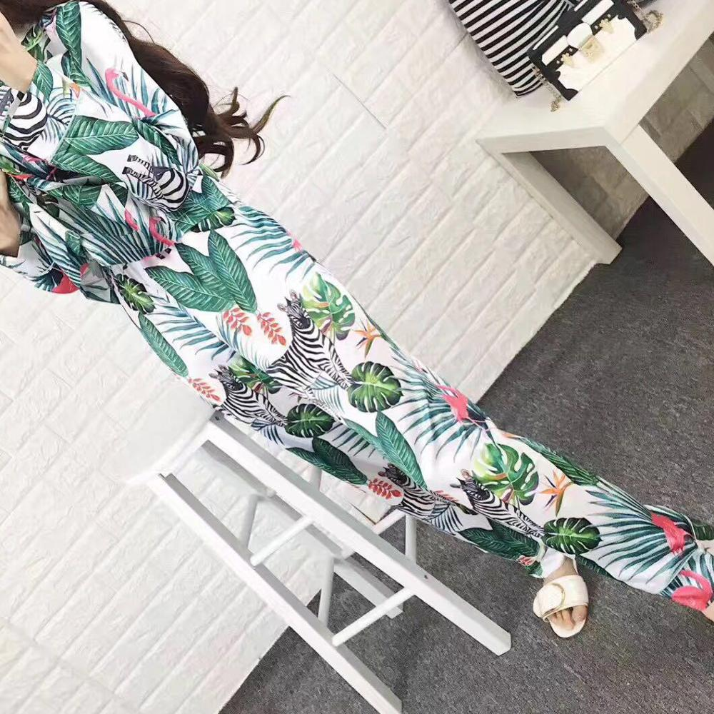 Ladies Sets Long Sleeve Pants Flamingo Warm Silk Soft Pyjamas Women Suits 2a774434b