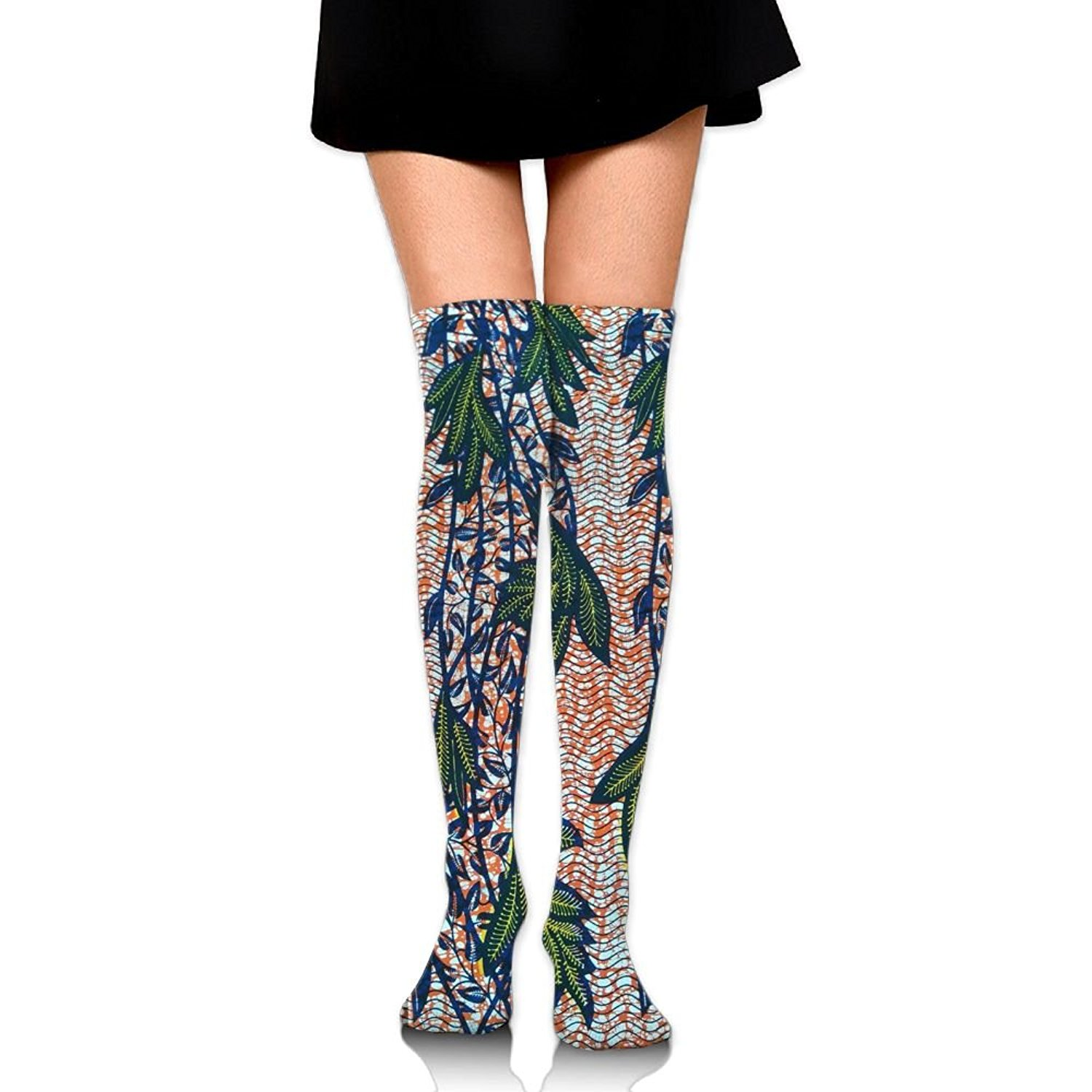 Zaqxsw African Stripe Women Cool Thigh High Socks Thermal Socks For Ladies