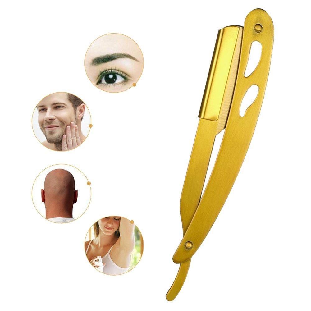 Razorless straight razor - Gold Straight Edge Barber Razor Stainless Steel Folding Shaving Shaver W0X3