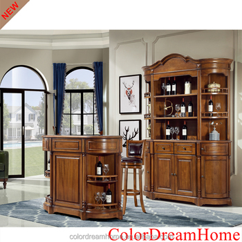 Wood Dining Room Furniture Set Wine Cabinet With Showcase Bar Counter