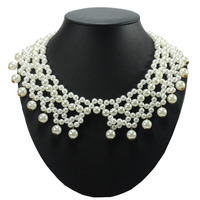 fake pearl beaded collar choker fashion jewelry necklace