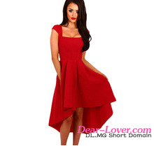 Fast Delivery 2017 Latest Summer Hot Lady Red Stripe Dip Hem Midi Swing Dress