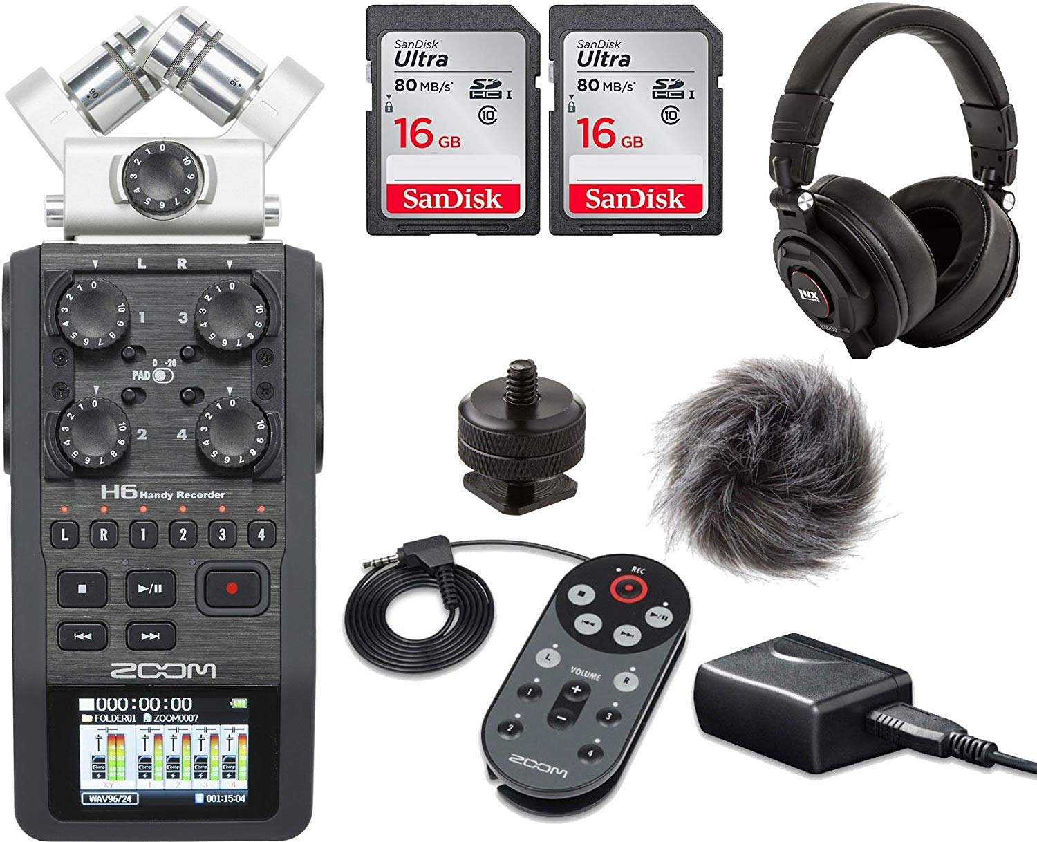 Zoom H6 Six-Track Portable Recorder Handy Recorder Portable Digital Audio Recorder - Accessory Kit and a LyxPro Headphones