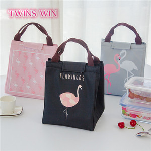 Uruguay popular Promotional wholesale Logo Customized cute fancy Flamingo design plain canvas lunch insulated cooler bags