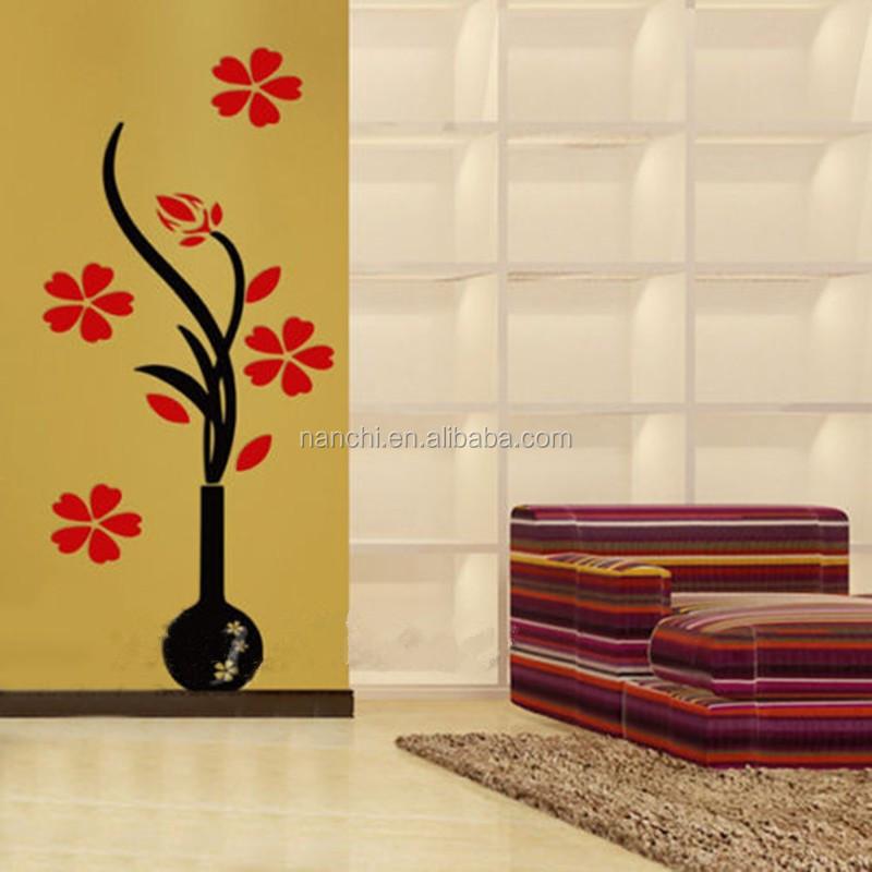 Acryl 3d Plum Bloem Vaas Muurstickers Home Decor Creative ...