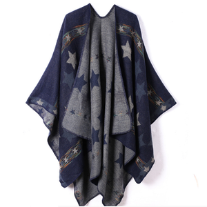 Beautiful custom star printed wool women shawl