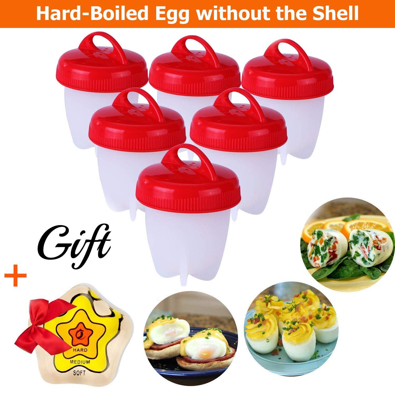 Silicone Egg Cooker - Hard Boiled Eggs Without The Shell, Non Stick Silicone Poacher, Hard Boiled Egg Maker, Egg Boiler, No Shell, 6 Pack & New Color Changing Egg Timer