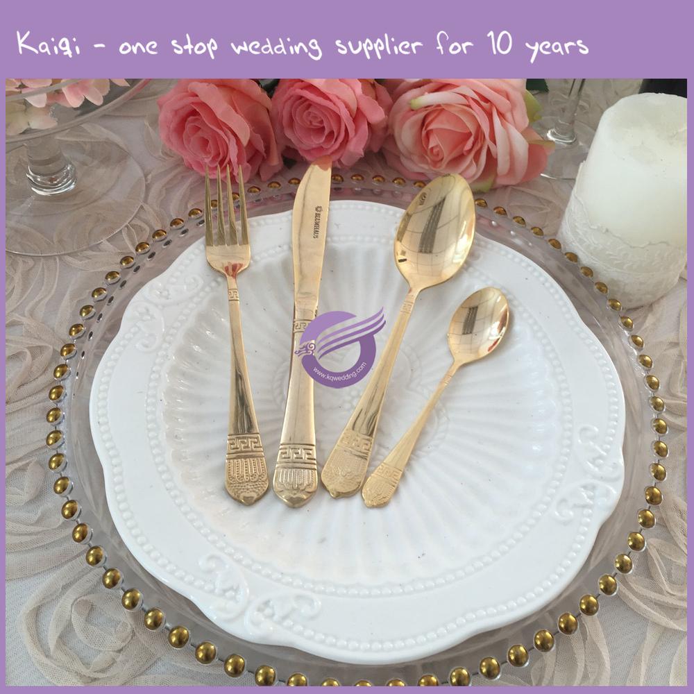 K7935 Cheap Wedding Bulk Cutlery Kitchenware Gold Plated