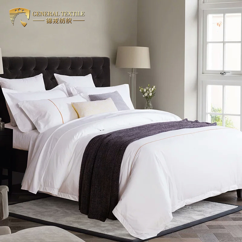 China plain white hotel 100% cotton sateen king bedding set
