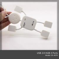 Free Sample High Speed 4 Ports USB 2.0 Hub White Mini Man Shape USB HUB ( OS-407H )