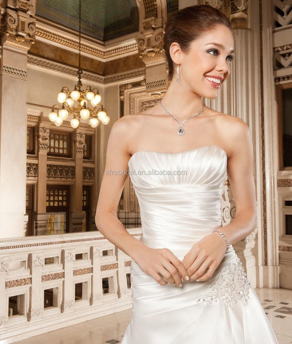 Sd880 Strapless Satin Simple Wedding Dress Cheap Arabic Bridal ...