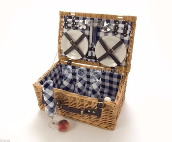 willow picnic basket 4 person outdoor wicker hamper set plates cutlery