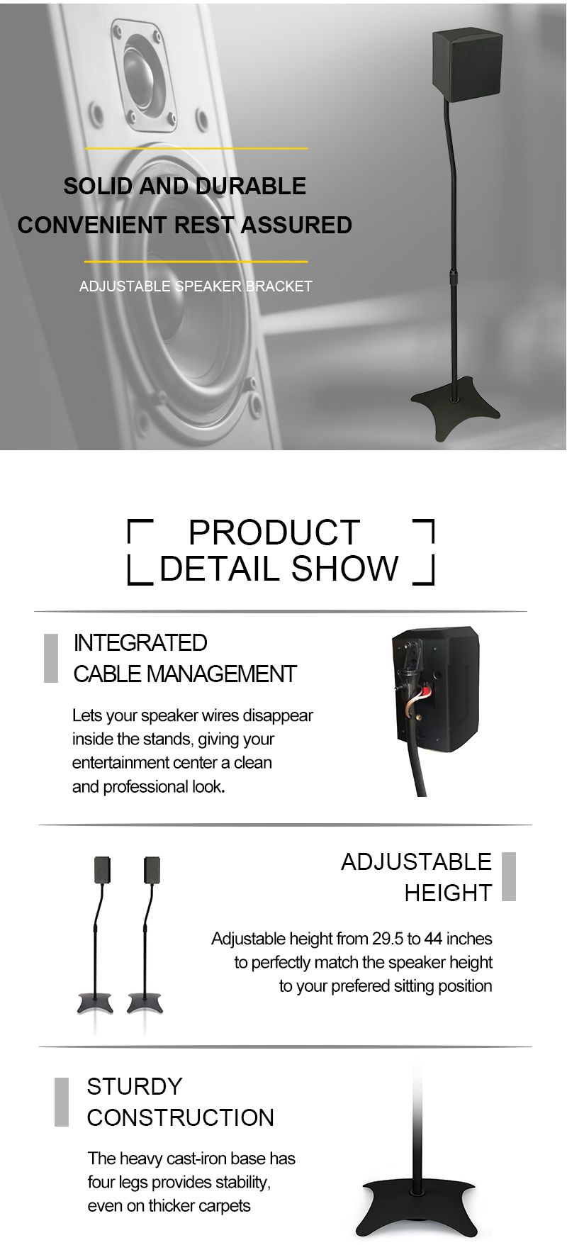 Universal  Height Adjustable Home Theater Surround Sound System Satellite Speaker Stands Mounts  DJ PA Speaker Box Stand