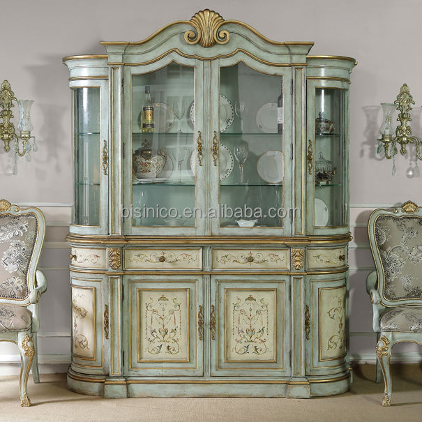 Hand Painted Glass Display Sideboard Buffet,Shabby Chic Curio ...