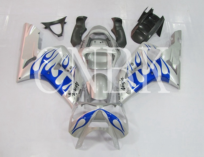 Carenatura Ninja Zx-6r 2003-2004 Argento Blu Telaio Del Corpo Kit Zx6r 04 Carenature In Plastica 636 Zx-6r 03