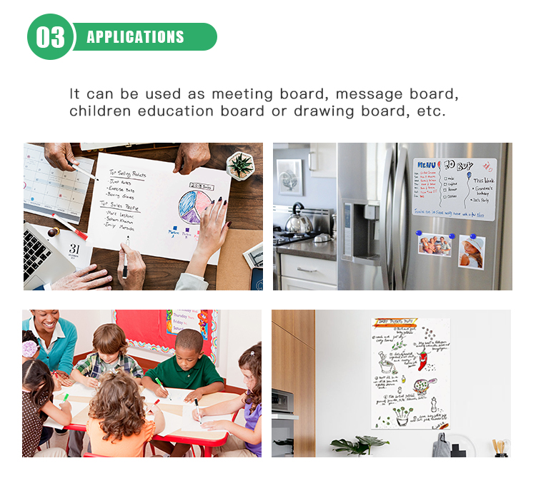 Customized Soft Glossy White Board Paper Reusable Pet Magnetic Whiteboard Wall Sticker