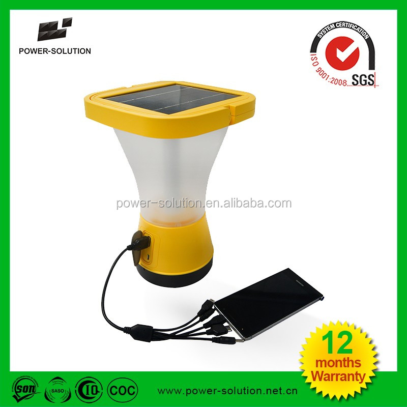 Outdoor portable waterproof 360 degree lighting solar emergency camping lantern with phone charging