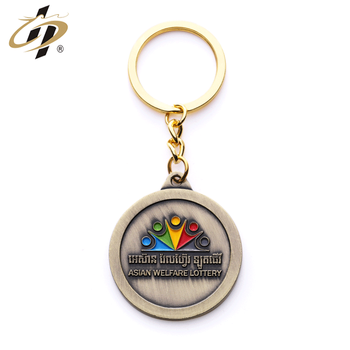 Promotional metal custom antique gold enamel school keychain