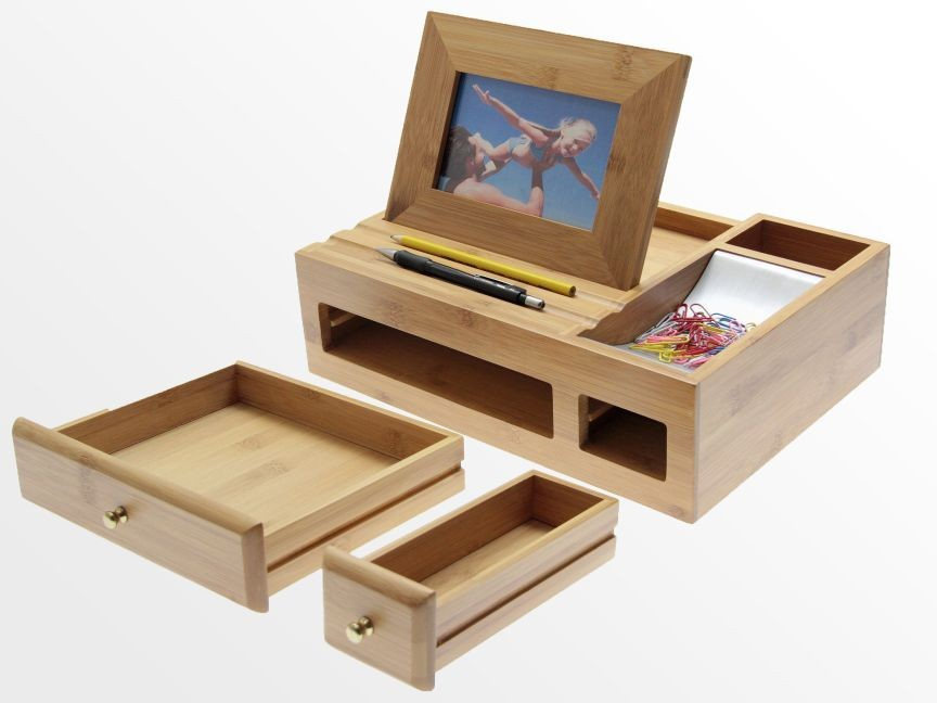 100% Bamboo Organiser Tidy Stationery Storage Box With Drawer Multifunction Desk Organiser With Photo Frame Wholesale - Buy Desk OrganiserBamboo Storage ... & 100% Bamboo Organiser Tidy Stationery Storage Box With Drawer ...