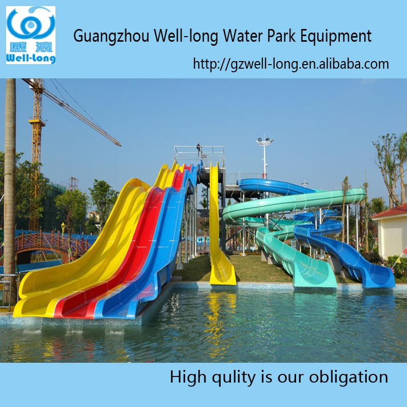Children plastic water amusement playground facility wave park <strong>slide</strong> for sale