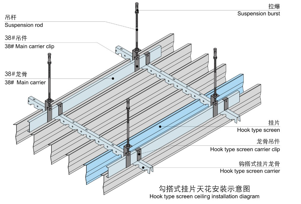 Light weight heat resistant suspended metal false ceiling for False ceiling types