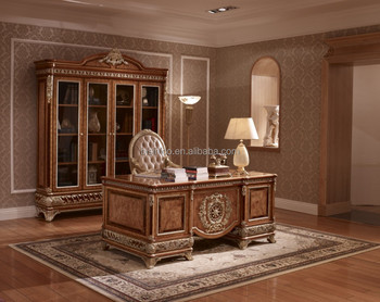 exquisite wood carving reading table and chair,luxury executive